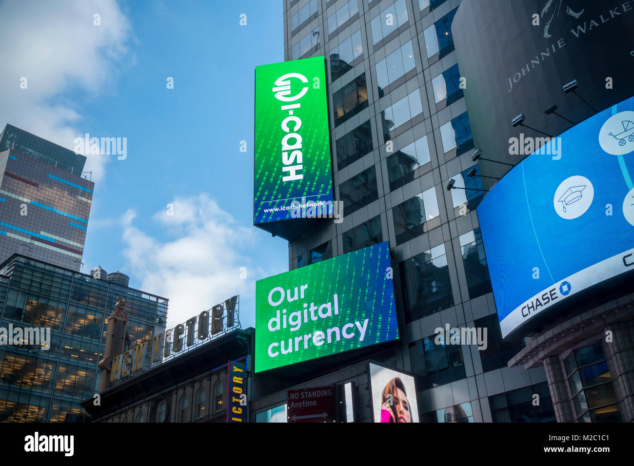 Advertising in Times Square in New York for iCash digital currency seen on Friday, February 2, 2018. iCash cryptocurrency - Stock Image