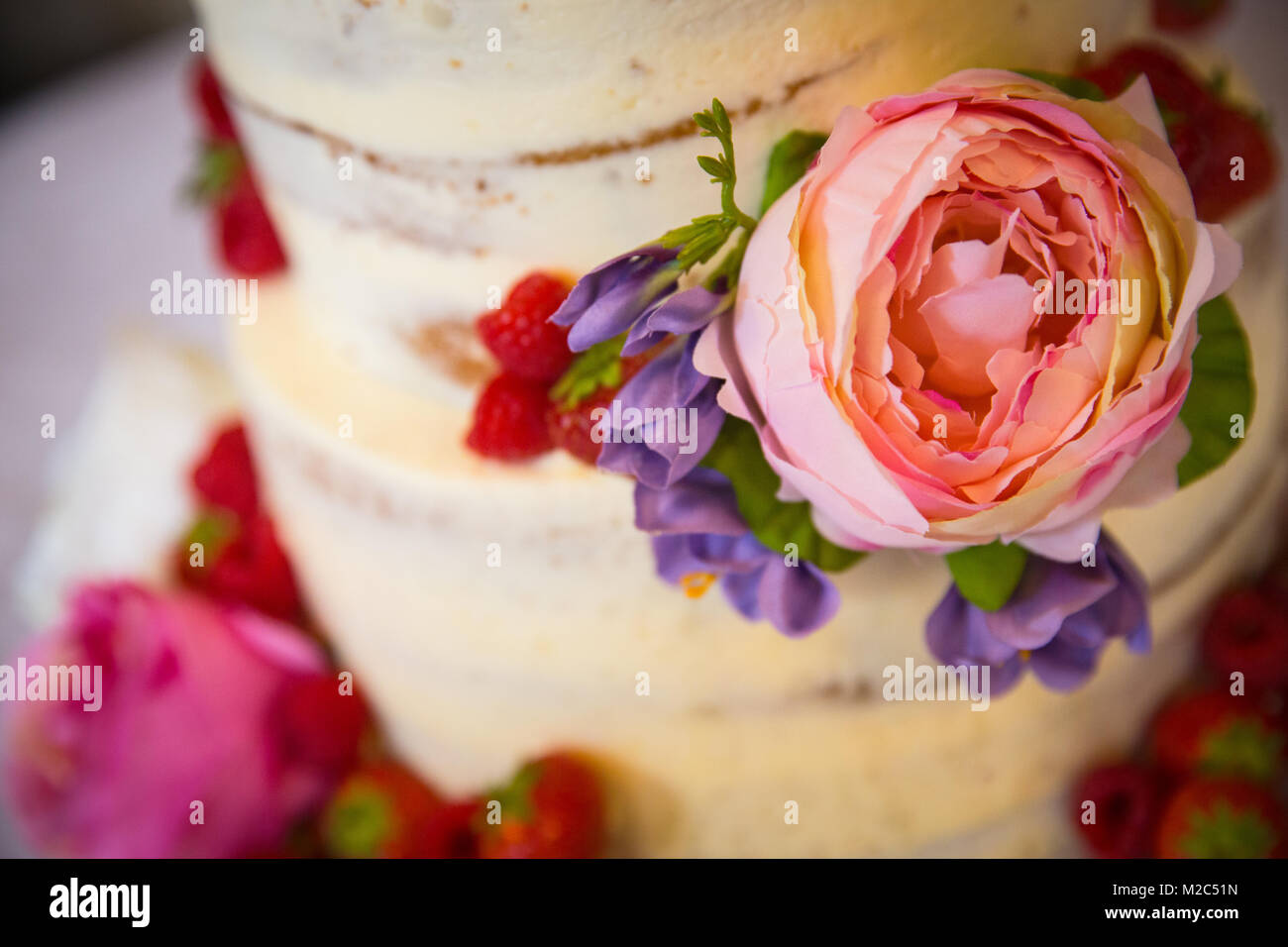 Fresh flowers and fruit on tiered celebration cake, close-up - Stock Image
