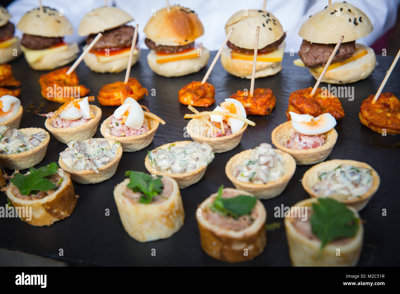Selection of canapes, close-up - Stock Image