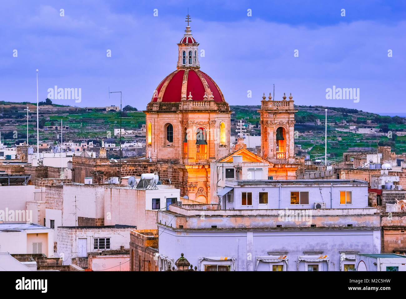 Victoria, Gozo, Malta: Overview of the city with Saint George Basilica, seen  from the citadel. - Stock Image
