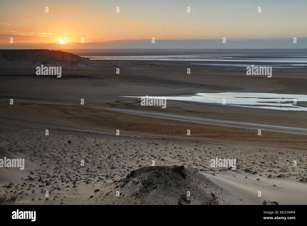 A beautiful sunrise in the Western Sahara Stock Photo