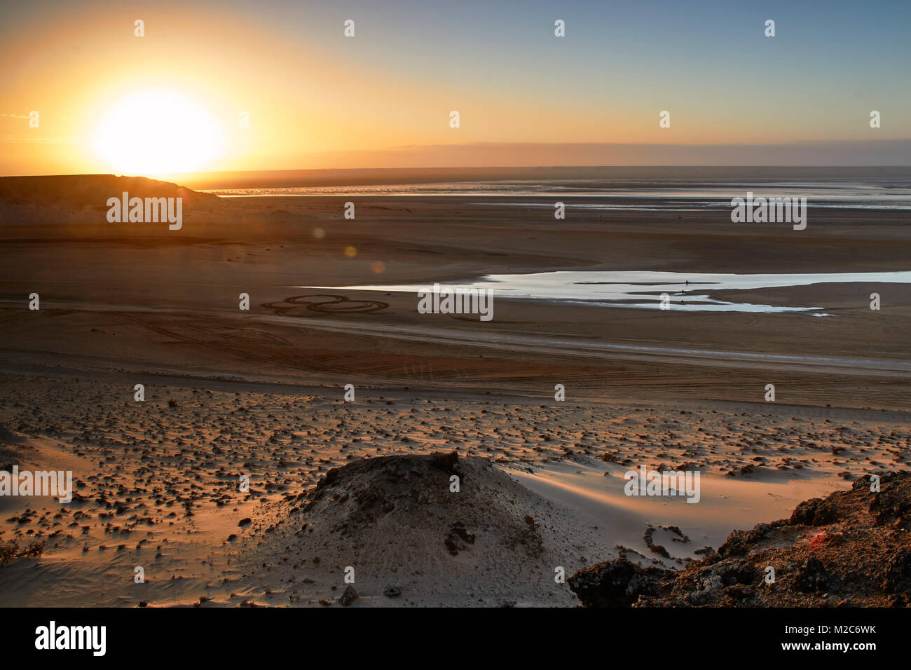 A beautiful sunrise in the Western Sahara - Stock Image