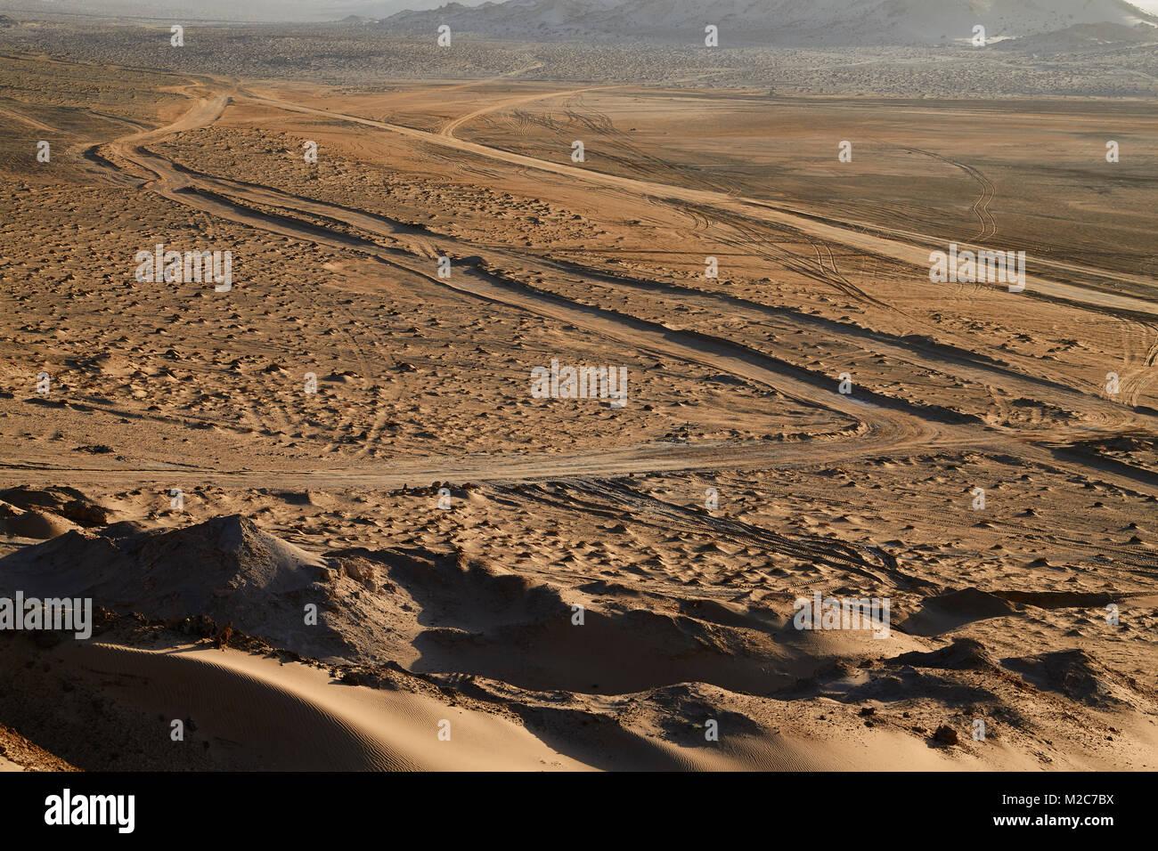 tracks in the desert sand, Western Sahara Stock Photo