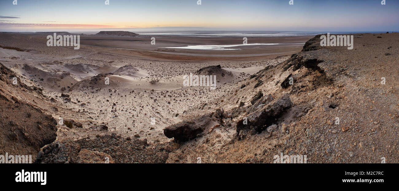 Sunrise in the Western Sahara, panorama Stock Photo
