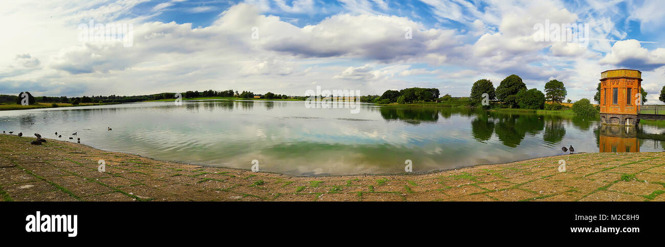 Panorama scene of sywell country park lake in Norhampton, England. - Stock Image