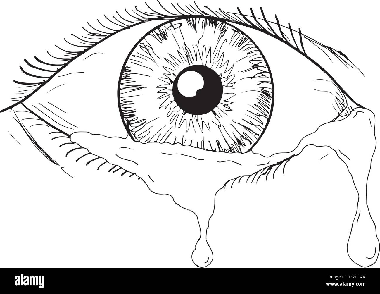 Drawing sketch style illustration of a human eye crying - Style de dessin ...