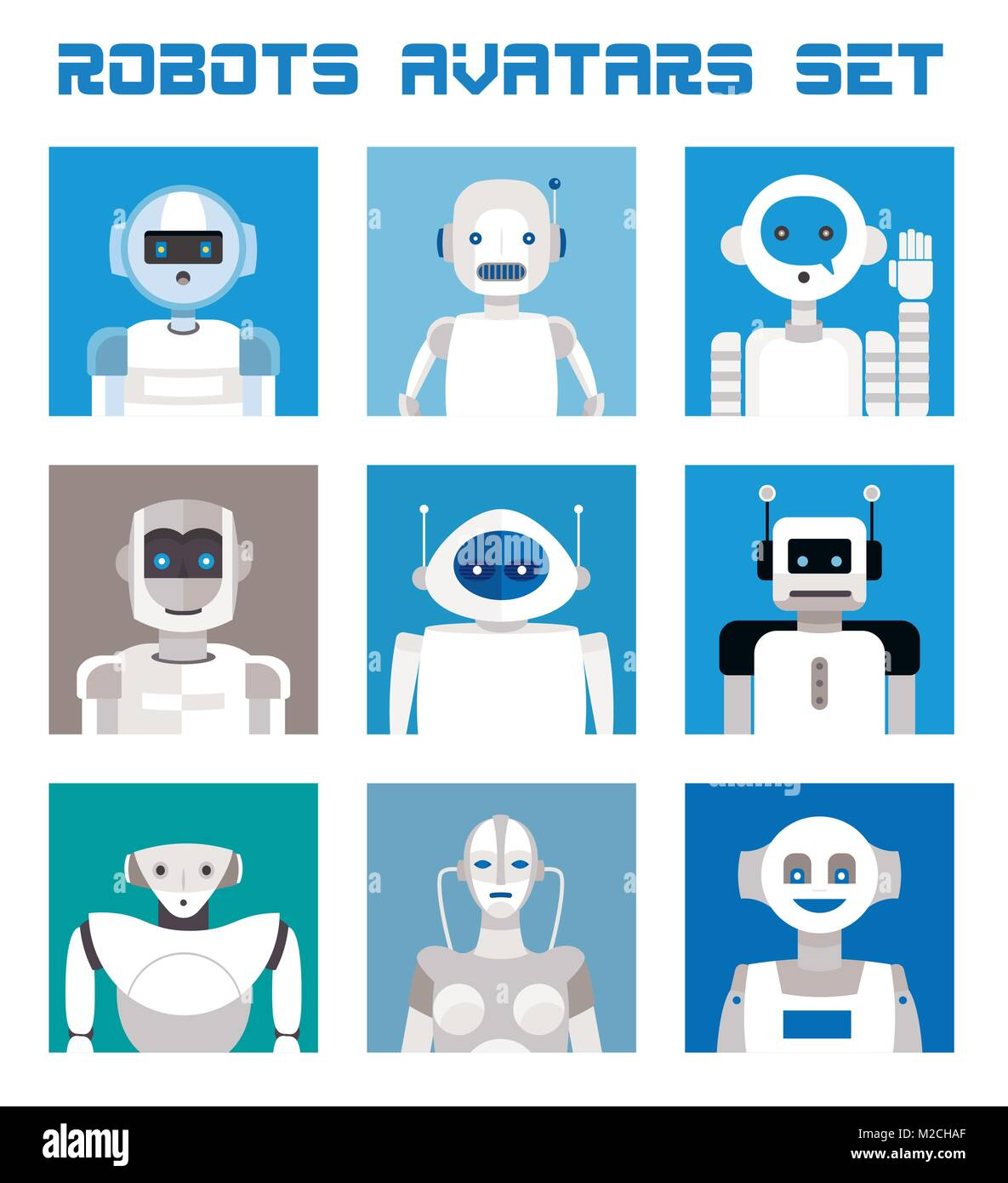 Varied set of robots faces and heads for used as characters avatars. Imaginative and friendly colourful collection Stock Vector
