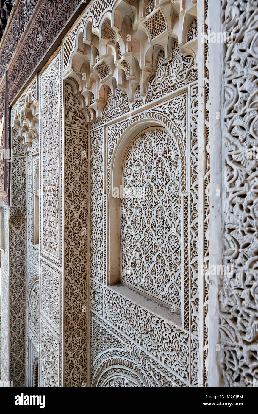 inner courtyard of islamic school Bou Inania Madrasa with typical ornated moorish architecture, Meknes, Morocco, - Stock Image