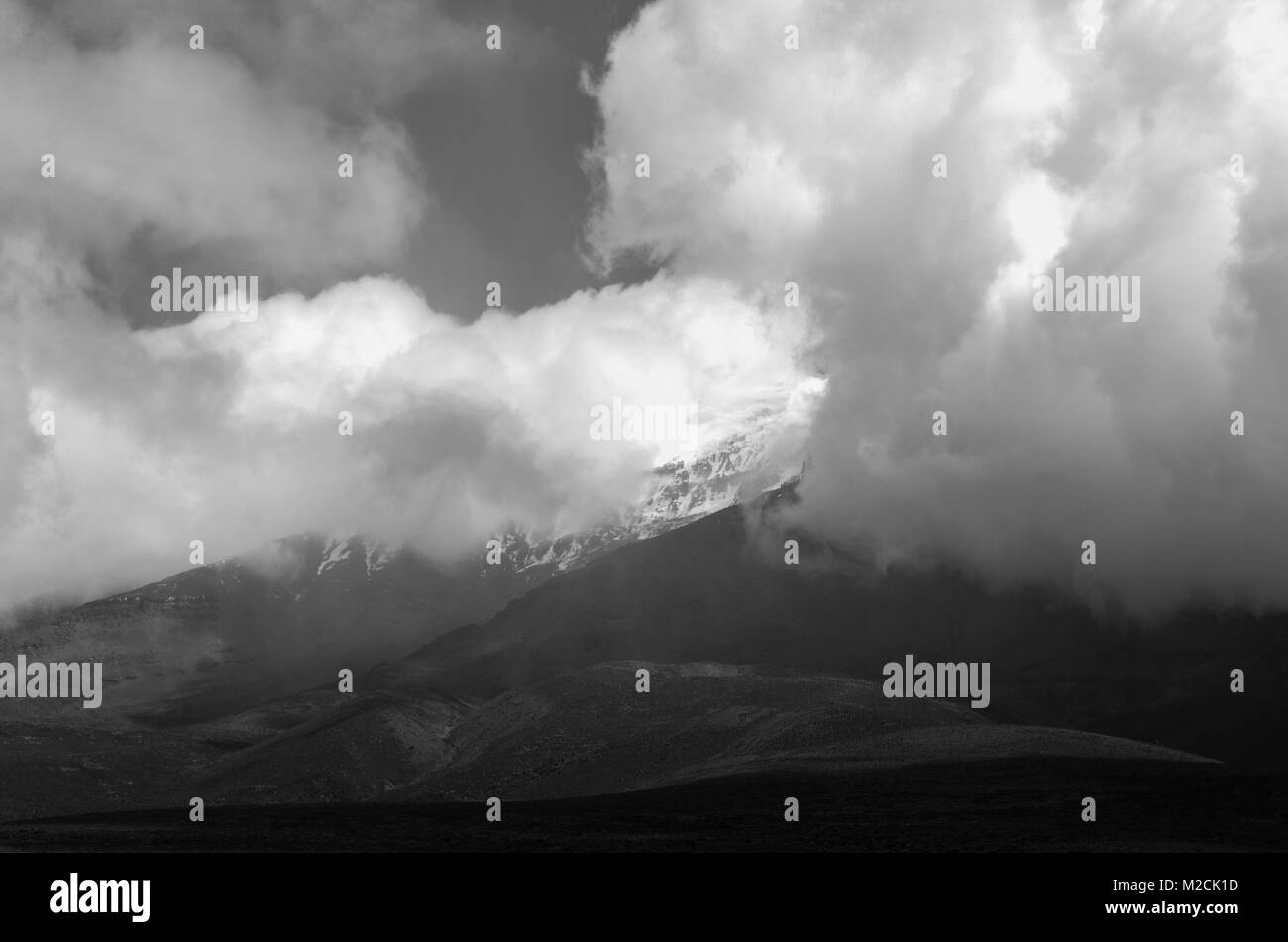 Chimborazo, a currently inactive stratovolcano in the Cordillera of the Ecuadorian Andes - Stock Image