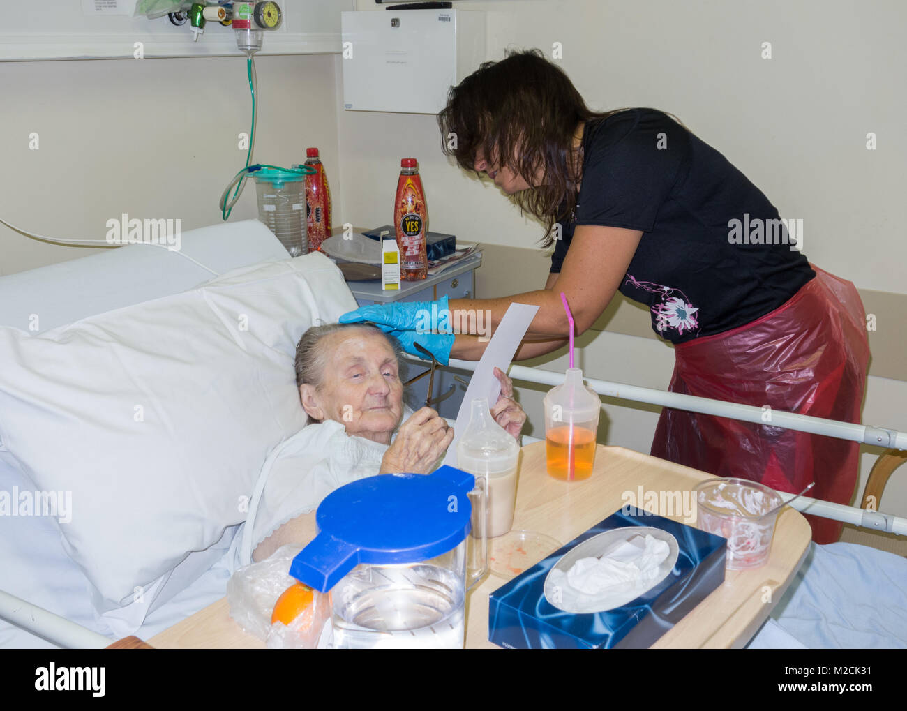 Elderly patient in her nineties diagnosed with cancer reading lunch menu in NHS hospital in England as female relative - Stock Image