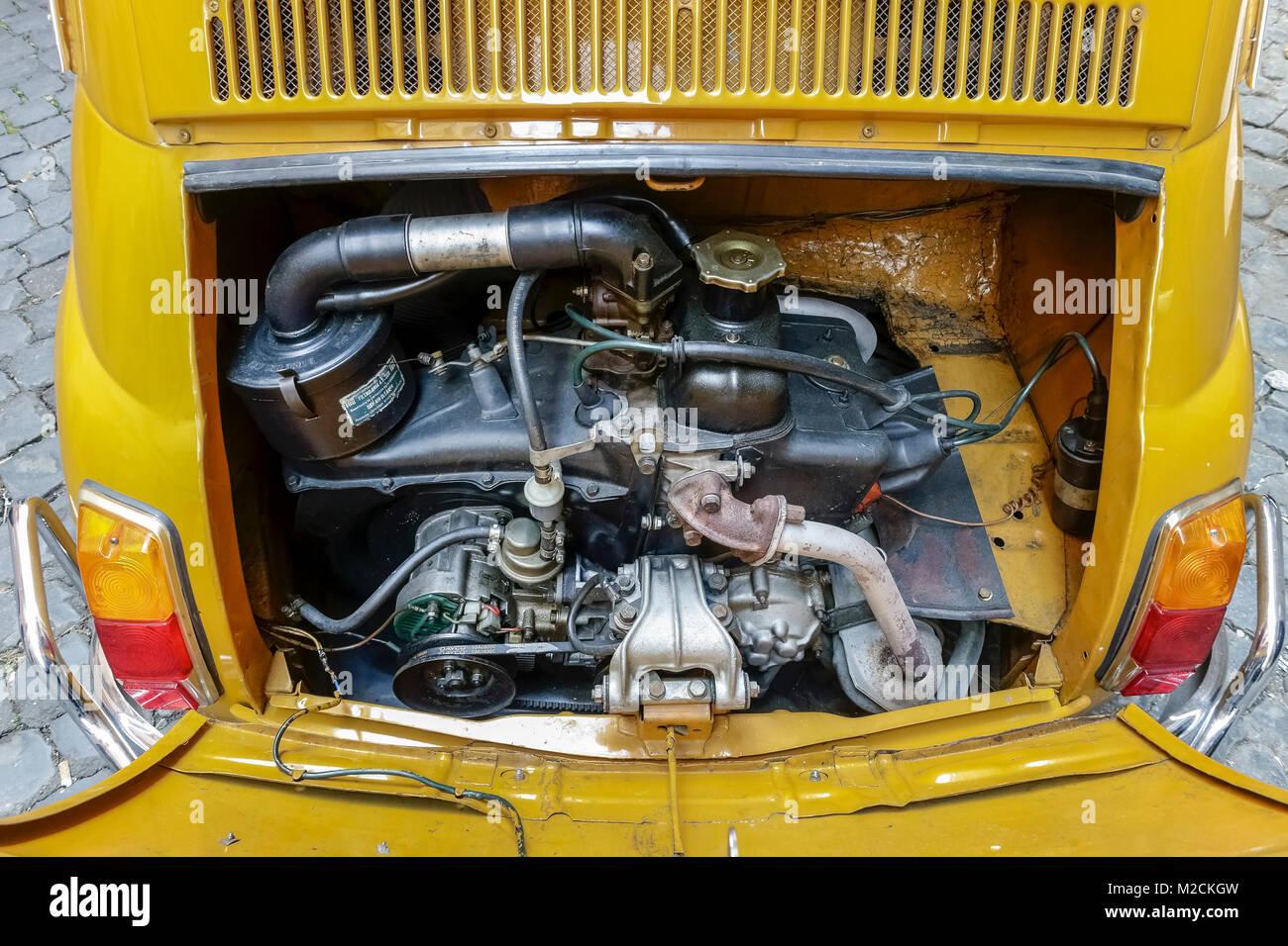 Open Car Motor Hood Engine Gear Of Fiat 500 Fabricated In 1970