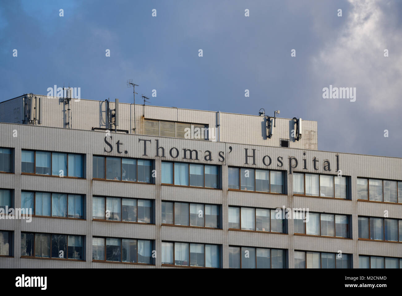 St Thomas' Hospital, Westminster Bridge London, UK. NHS teaching hospital in Central London.  Guy's and - Stock Image