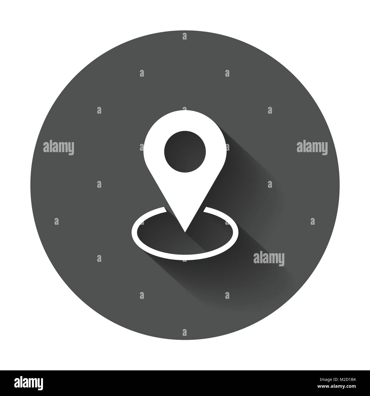 Pin icon vector. Location sign in flat style. Navigation map, gps concept with long shadow. - Stock Image