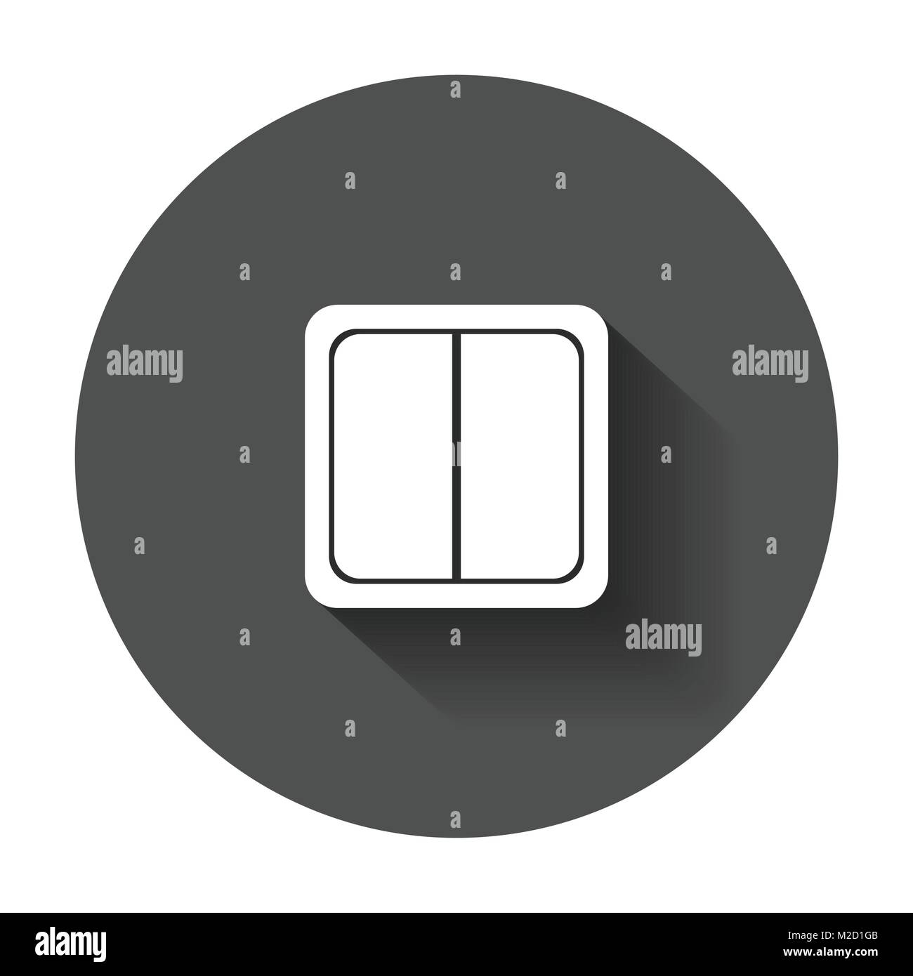 Electric light switch icon. Electric switch flat vector illustration with long shadow. - Stock Vector