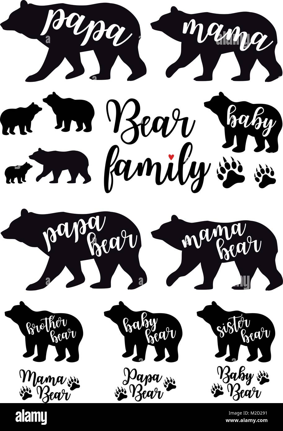 Mama Bear Papa Bear Baby Bear Silhouettes Set Of Vector