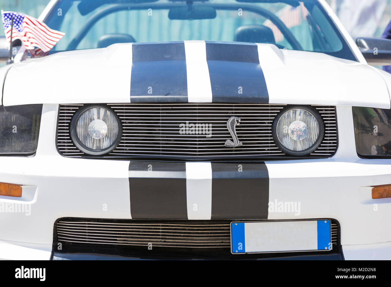 Beautiful and powerful american muscle car, wide and sporty tires with tremendous power Stock Photo