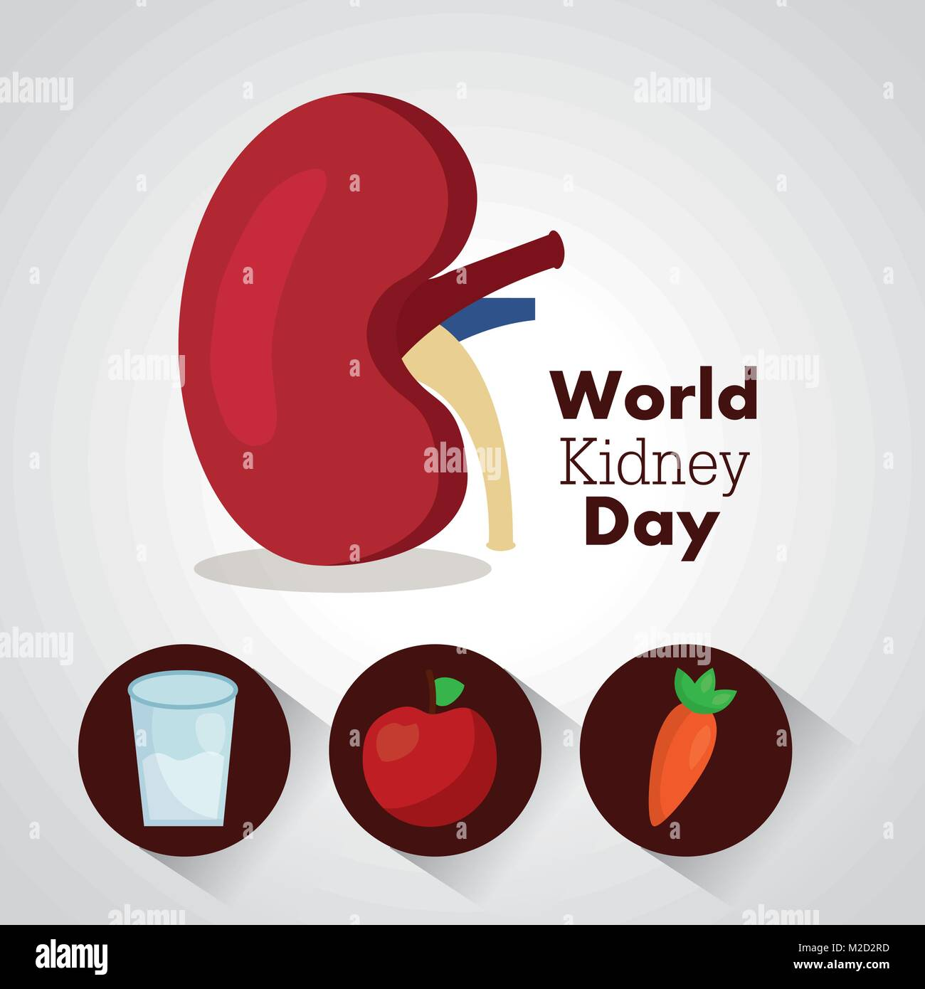 world kidney day card health food water care - Stock Image