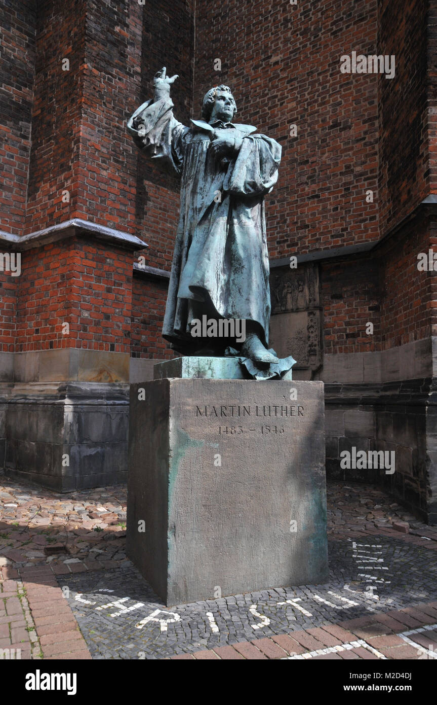 Statue of Lutheran Reformer, Martin Luther in Hanover, Germany - Stock Image