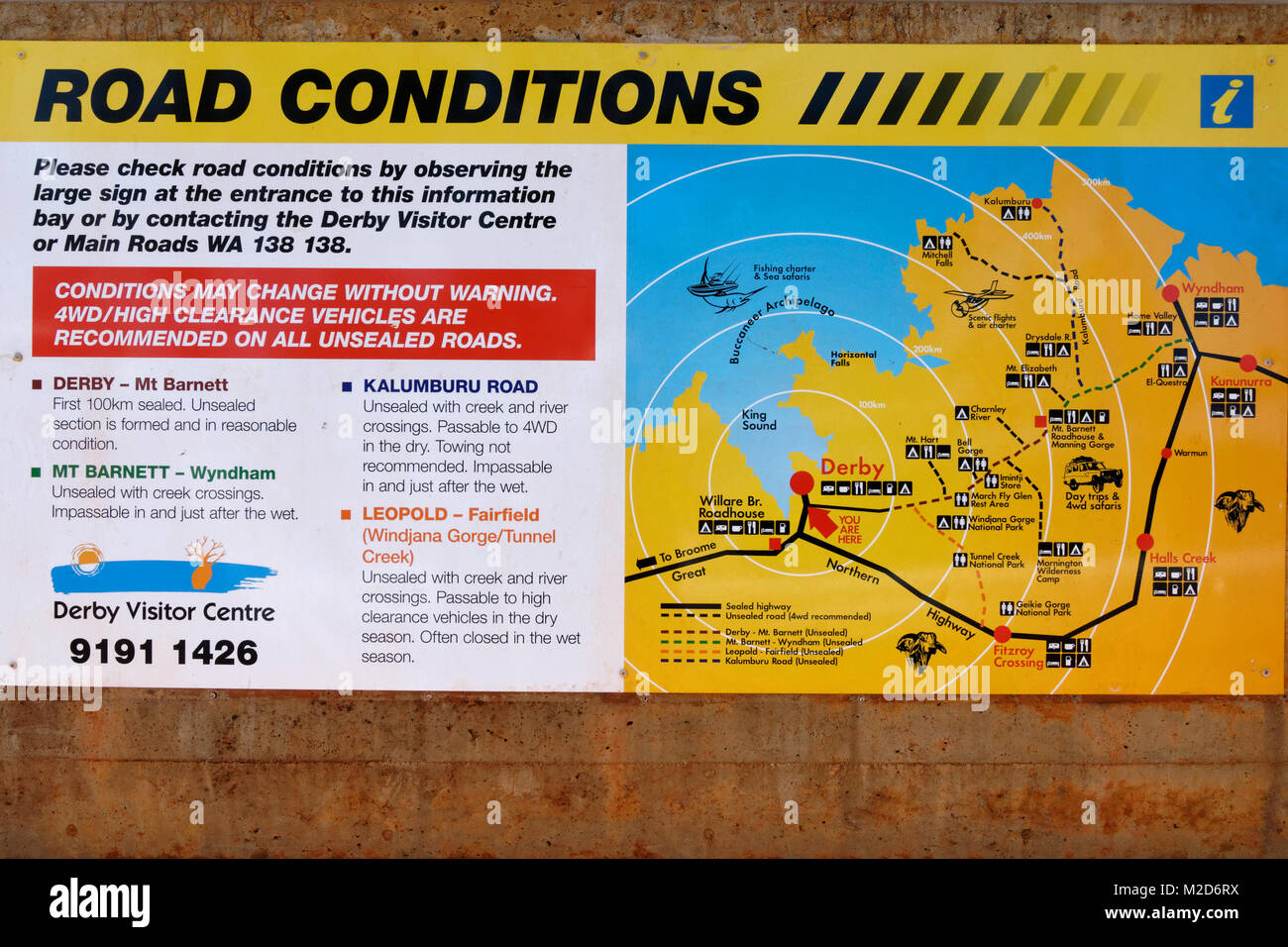 Road conditions information sign,  Derby, West Kimberley, Western Australia - Stock Image