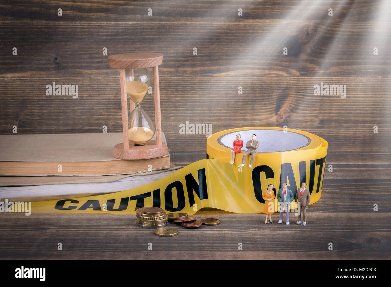 education and reform. career opportunities and profits. yellow caution tape - Stock Image