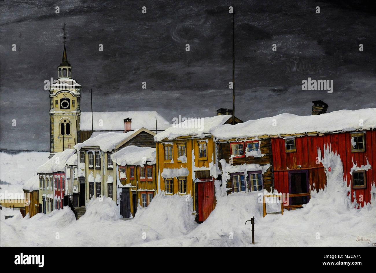 Harald Sohlberg (1869-1935). Norwegian painter. Street in Roros in Winter, 1903. National Gallery. Oslo. Norway. - Stock Image