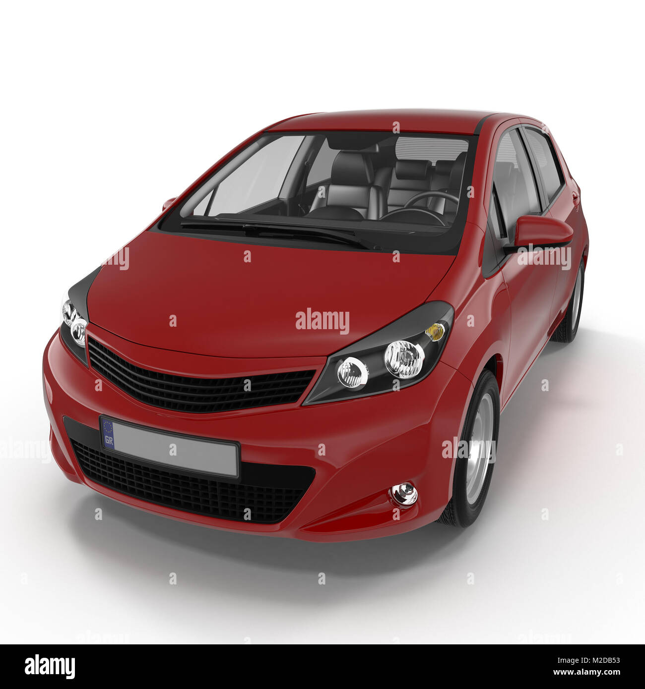 Generic hatchback car on white. 3D illustration - Stock Image