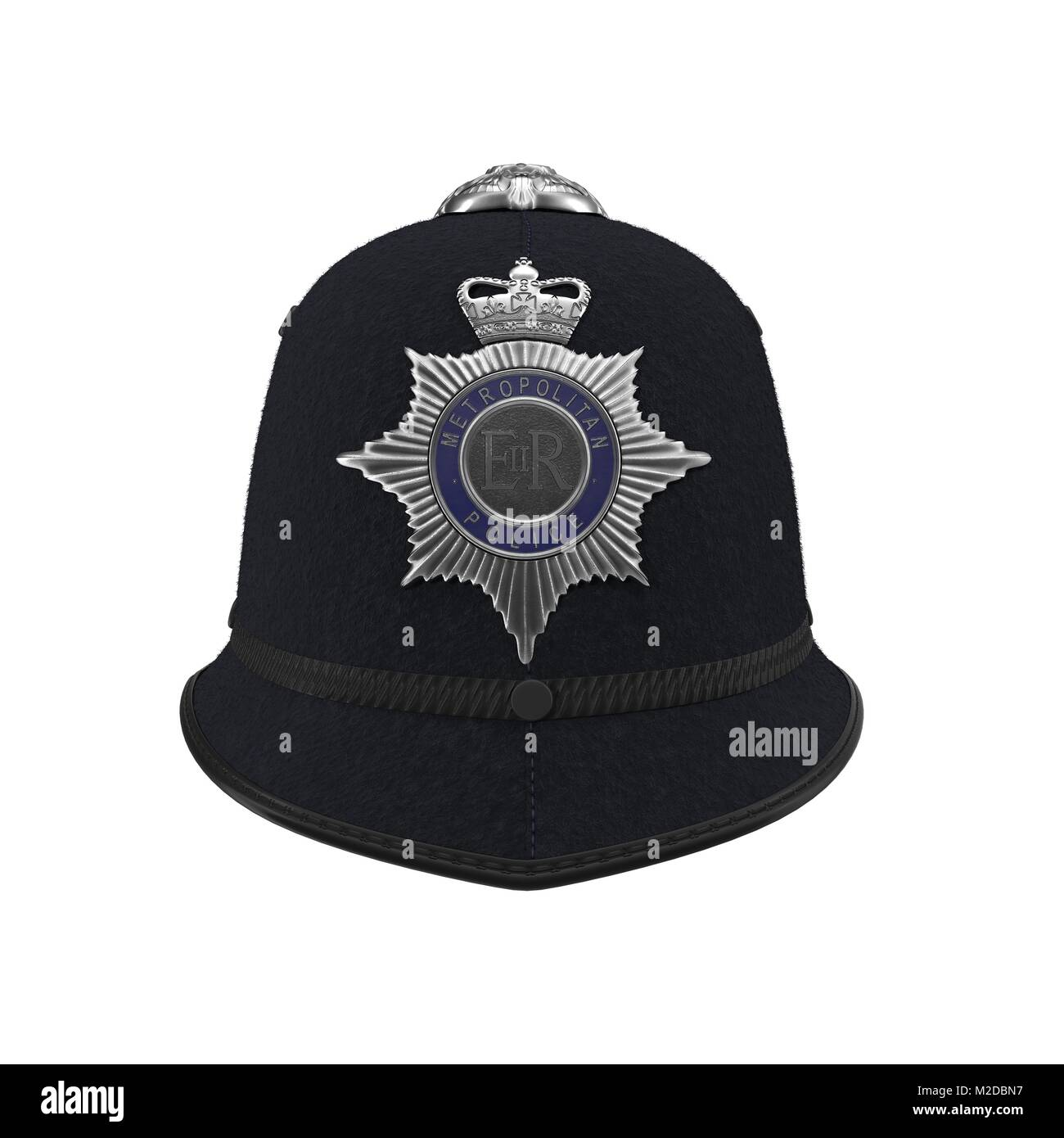 traditional british police helmet isolated on white. Front view. 3D  illustration - Stock Image b8a161491660
