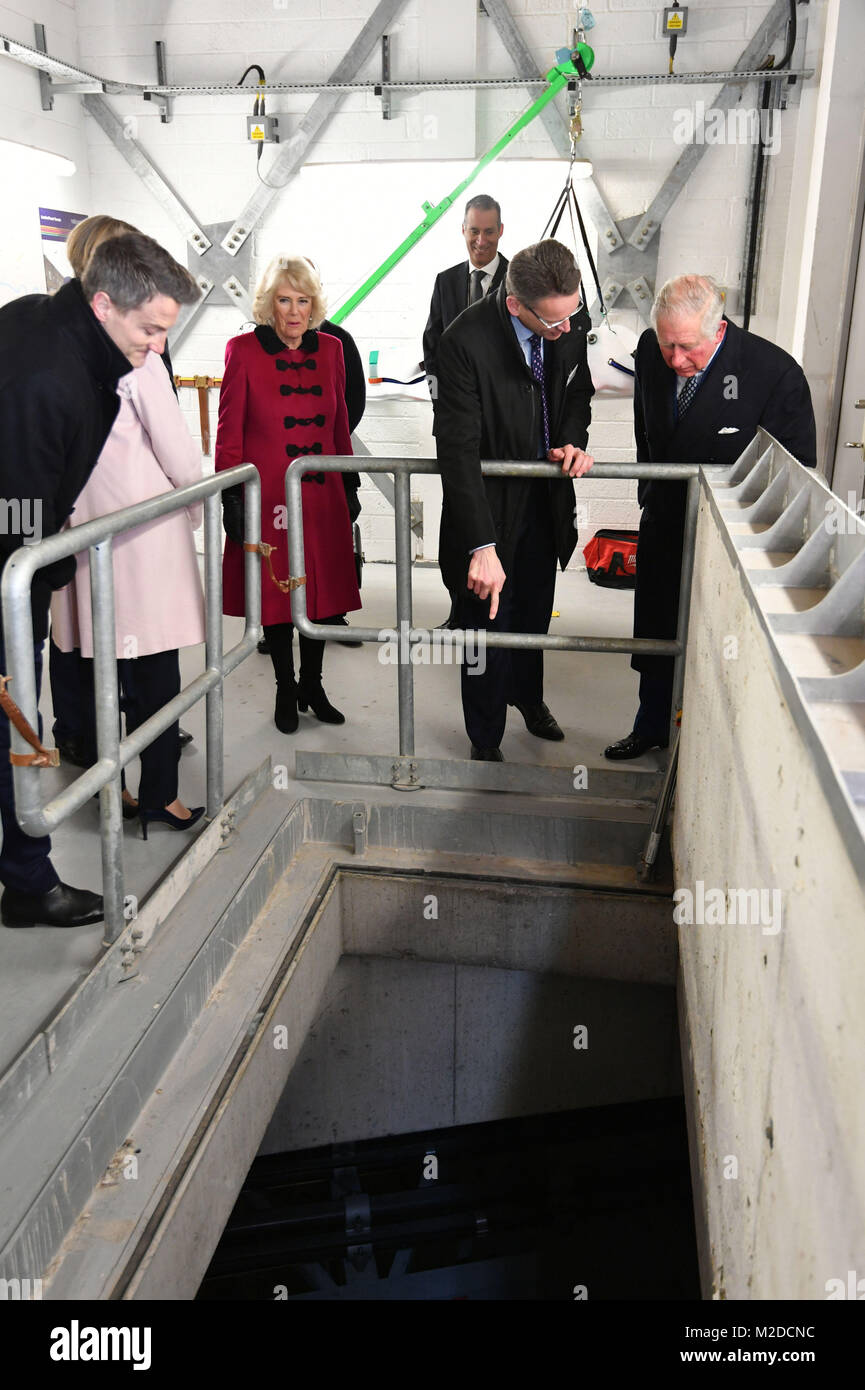 The Prince of Wales and Duchess of Cornwall inspects the shaft that goes down to the tunnels during the official - Stock Image