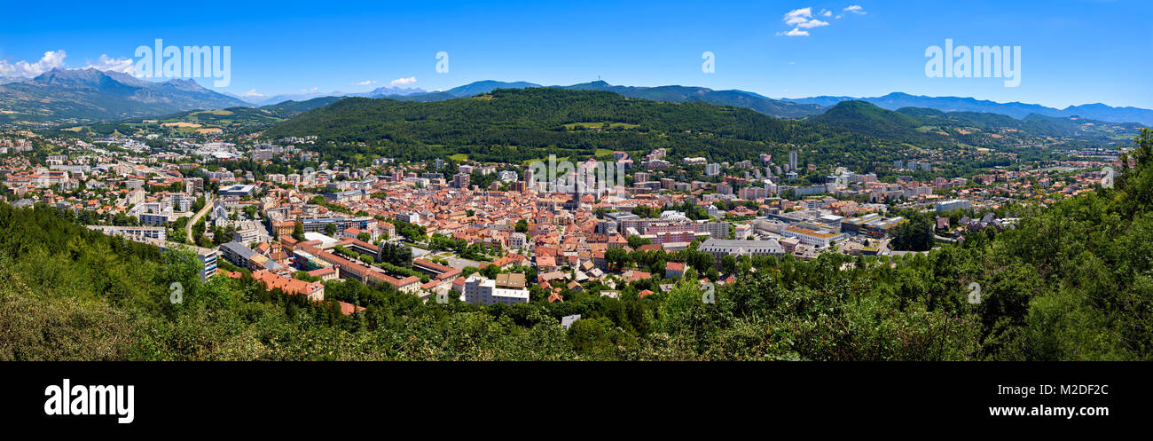 Elevated panoramic view of the city of Gap in the Hautes-Alpes in Summer. Southern French Alps, France - Stock Image