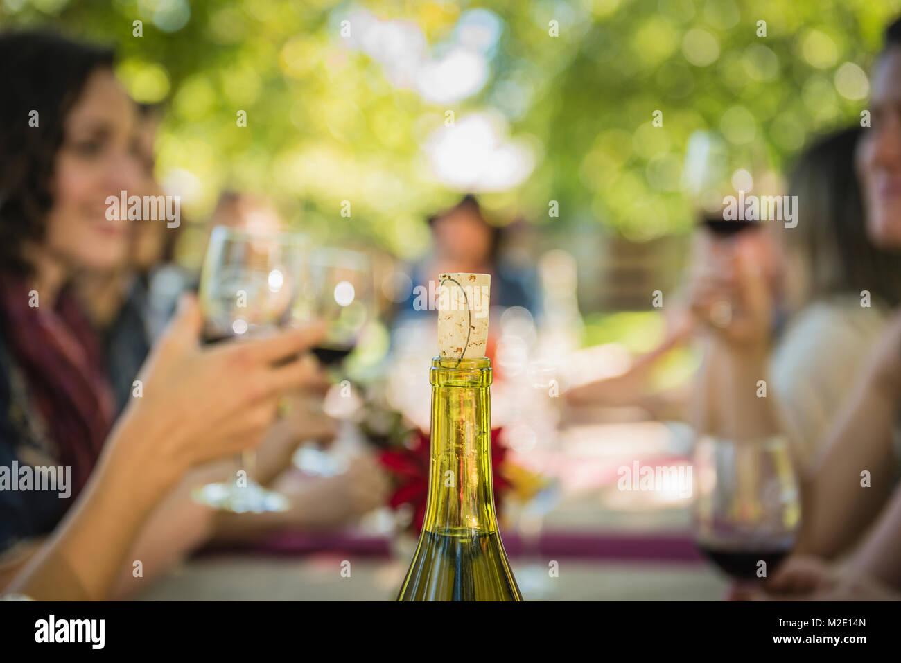 Cork in wine bottle near people drinking wine - Stock Image