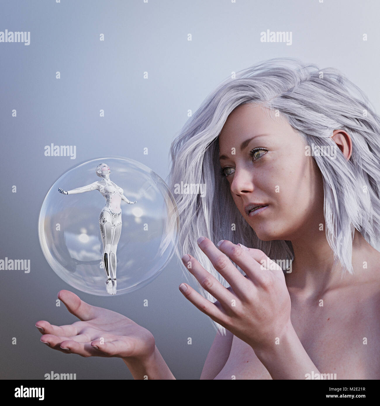 Women watching robot woman in floating sphere Stock Photo
