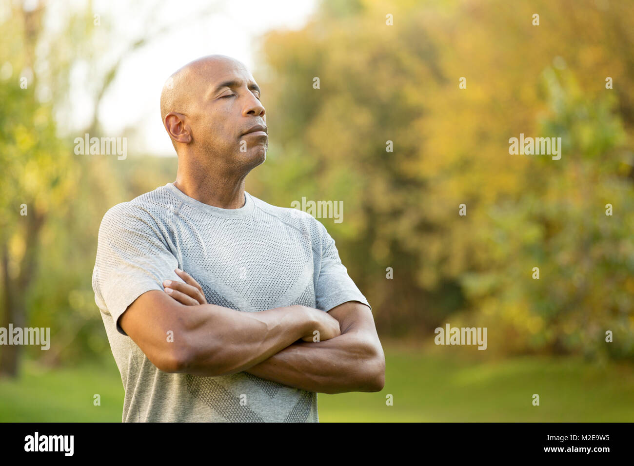 Fit African American man. - Stock Image