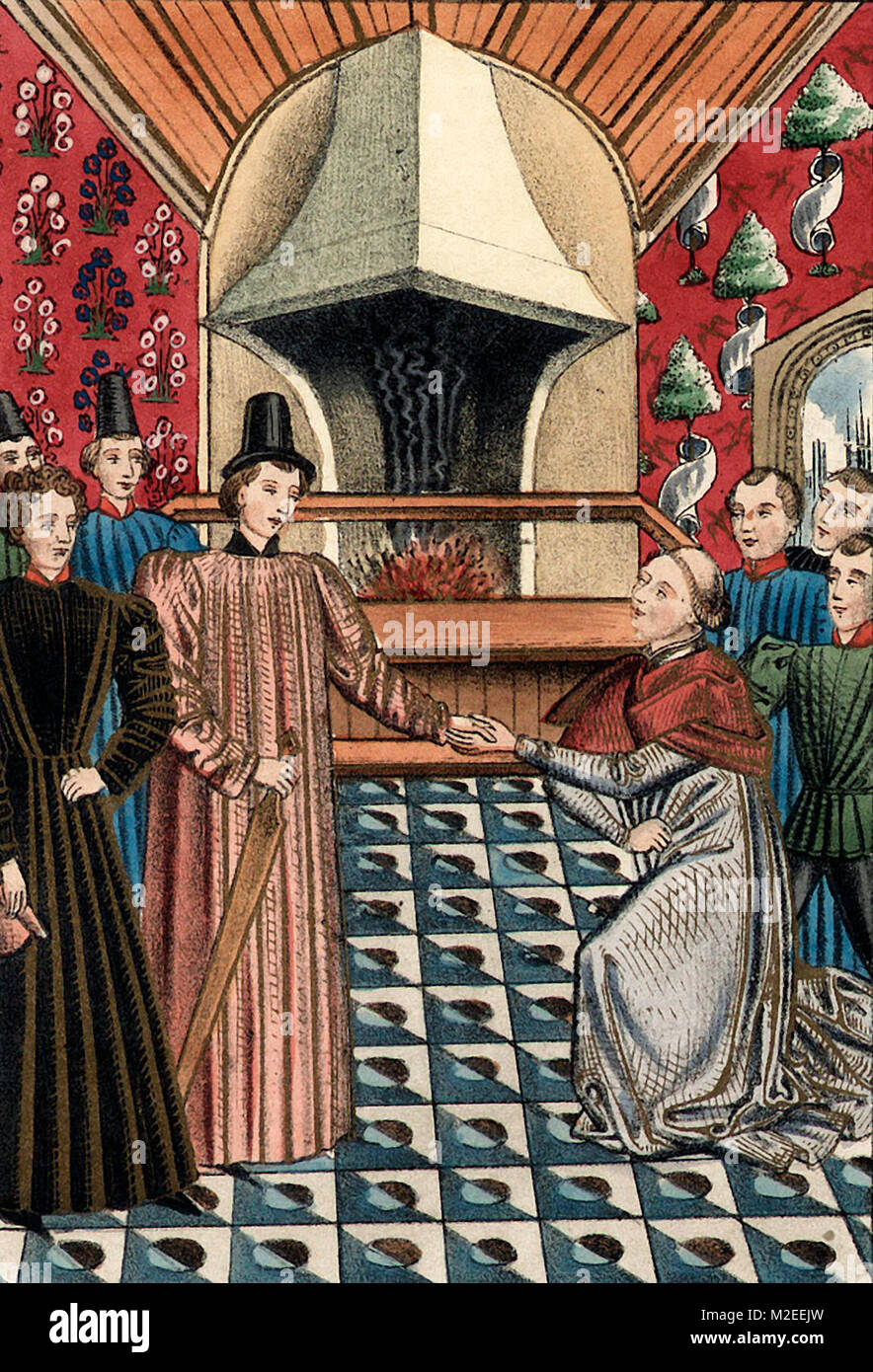 The interview of the Archbishop of Canterbury with the Earl of Derby at Paris - Stock Image