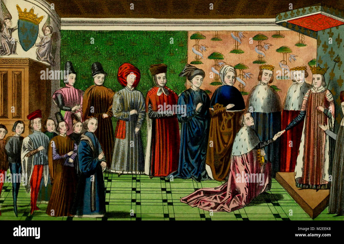 The meeting of King Charles VI of France and the Duke of Brittany at Tours - Stock Image