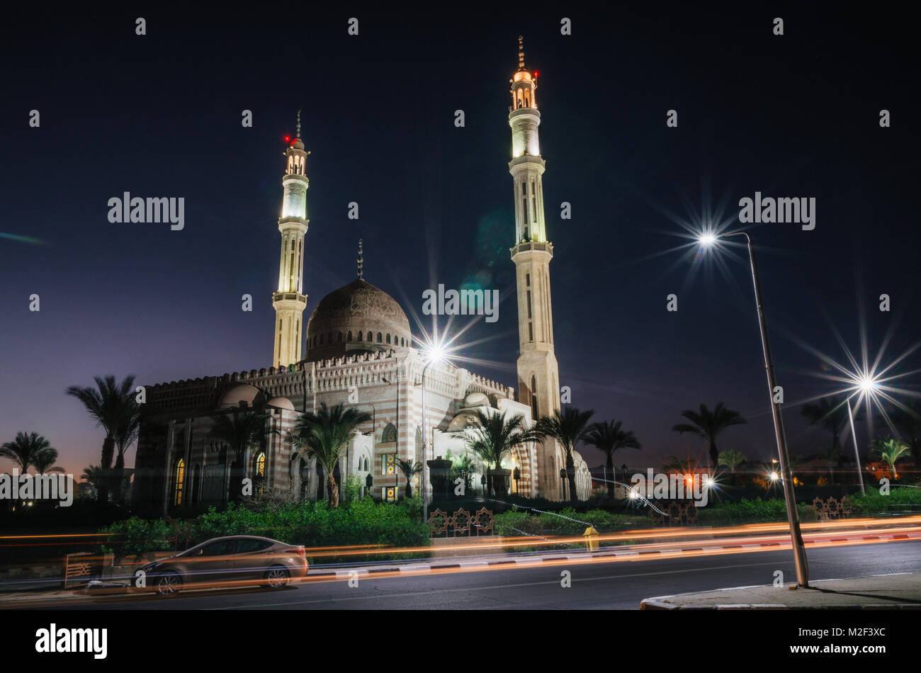Mosque Masjid al-Mostafa in town of Sharm el Sheikh in Egypt at night illumination - Stock Image