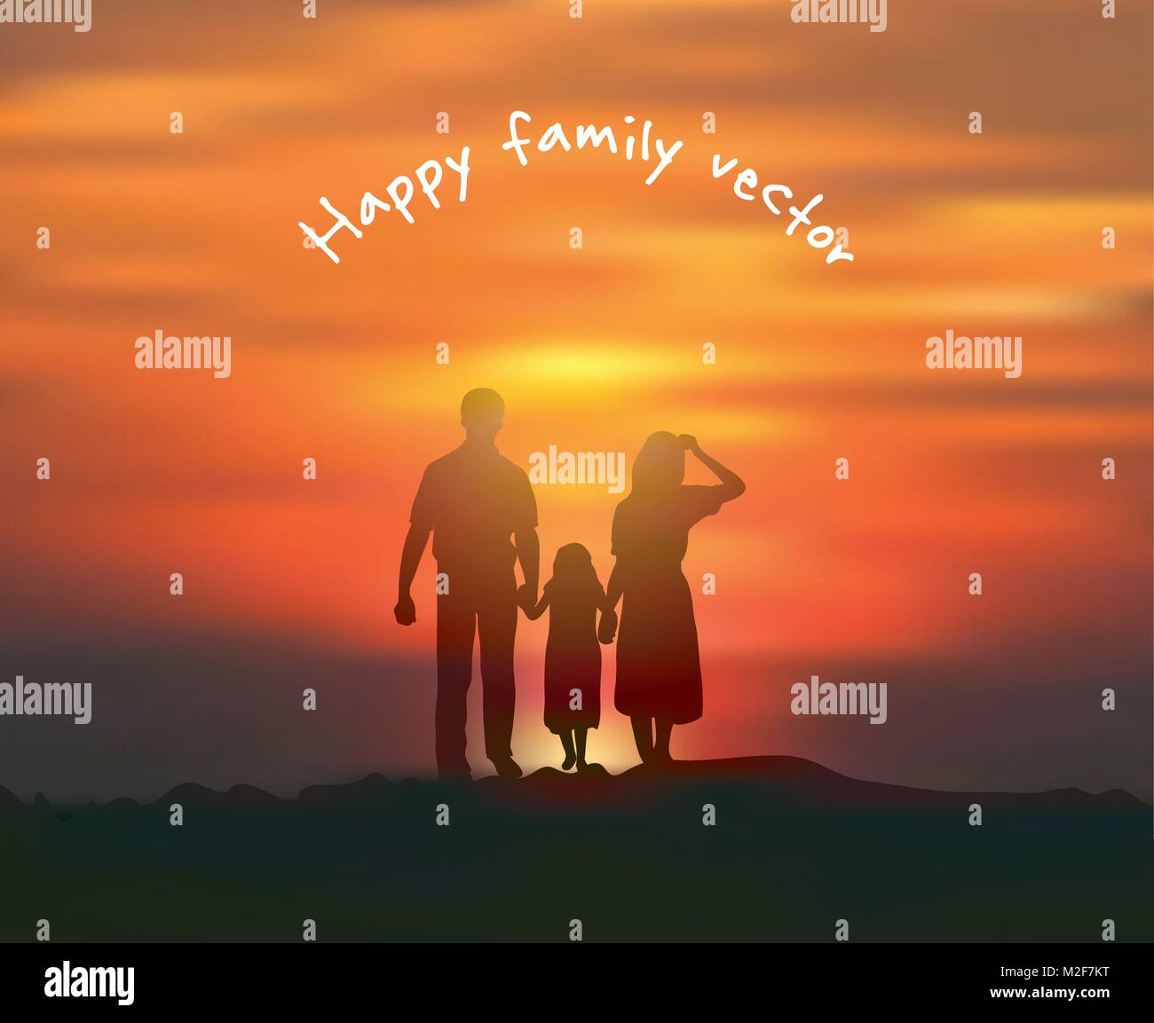 Silhouette happy family sun and sky sunset. - Stock Vector
