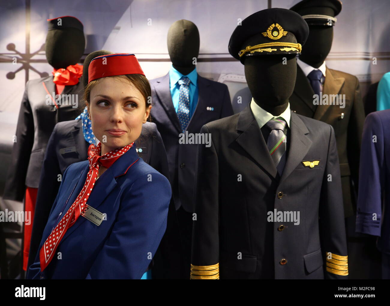 Moscow, Russia. 7th Feb, 2018. A stand of the Galaktika company manufacturing uniforms for civil aviation pilots - Stock Image