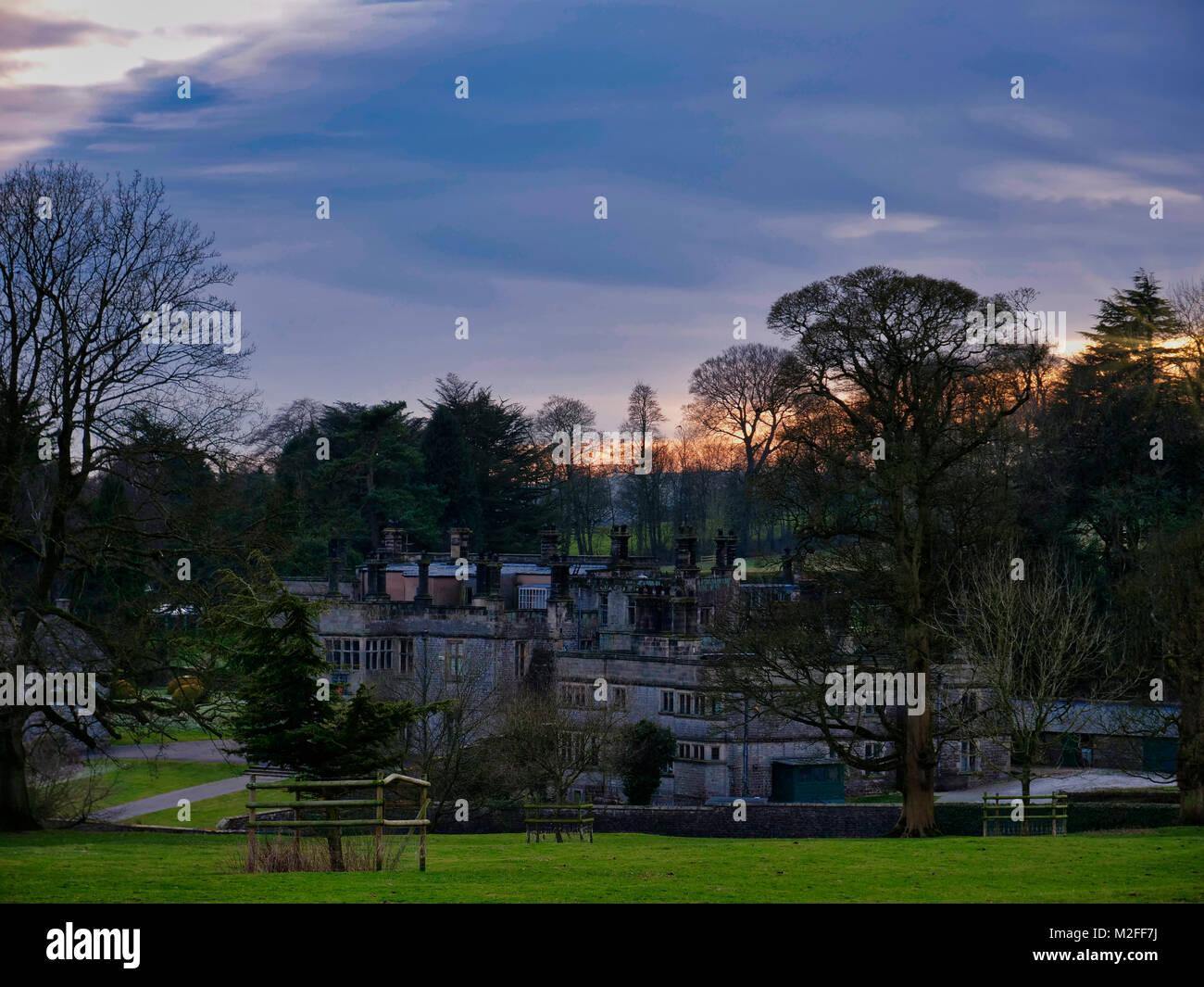 Peak District National Park, Derbyshire. 7th Feb, 2018. UK Weather: Wonderful sunset over Tissington Hall in Tissington Village in the Peak District National Park, Derbyshire, England, UK Credit: Doug Blane/Alamy Live News Stock Photo