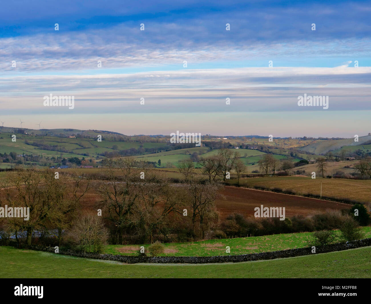 Parwich Village, Derbyshire. 7th Feb, 2018. UK Weather: Loverly view toward Parwich village from the TissingtonStock Photo