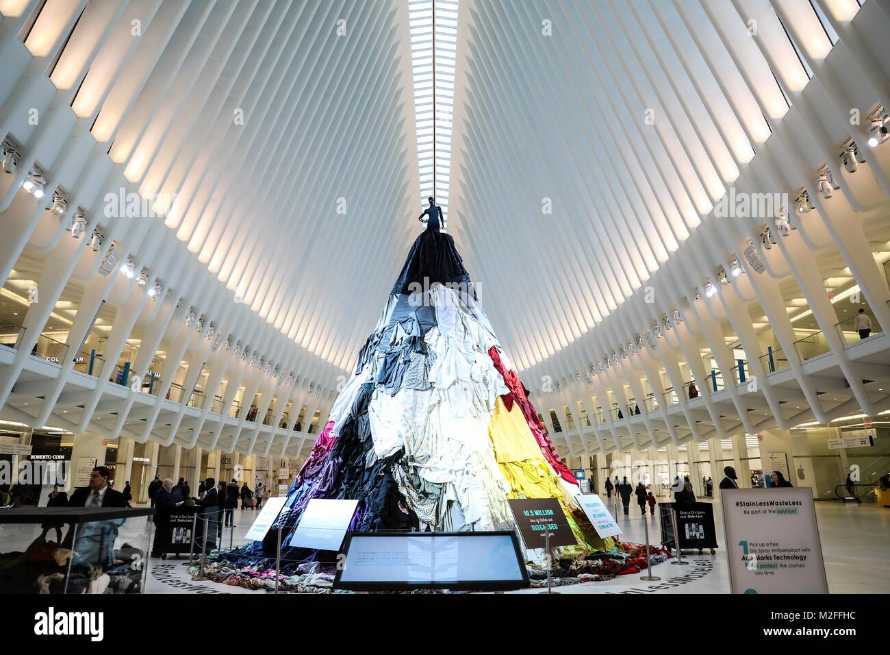 An artistic installation, Stain-Less, Waste-Less, can be seen at The Oculus World Trade Center in Manhattan in New - Stock Image