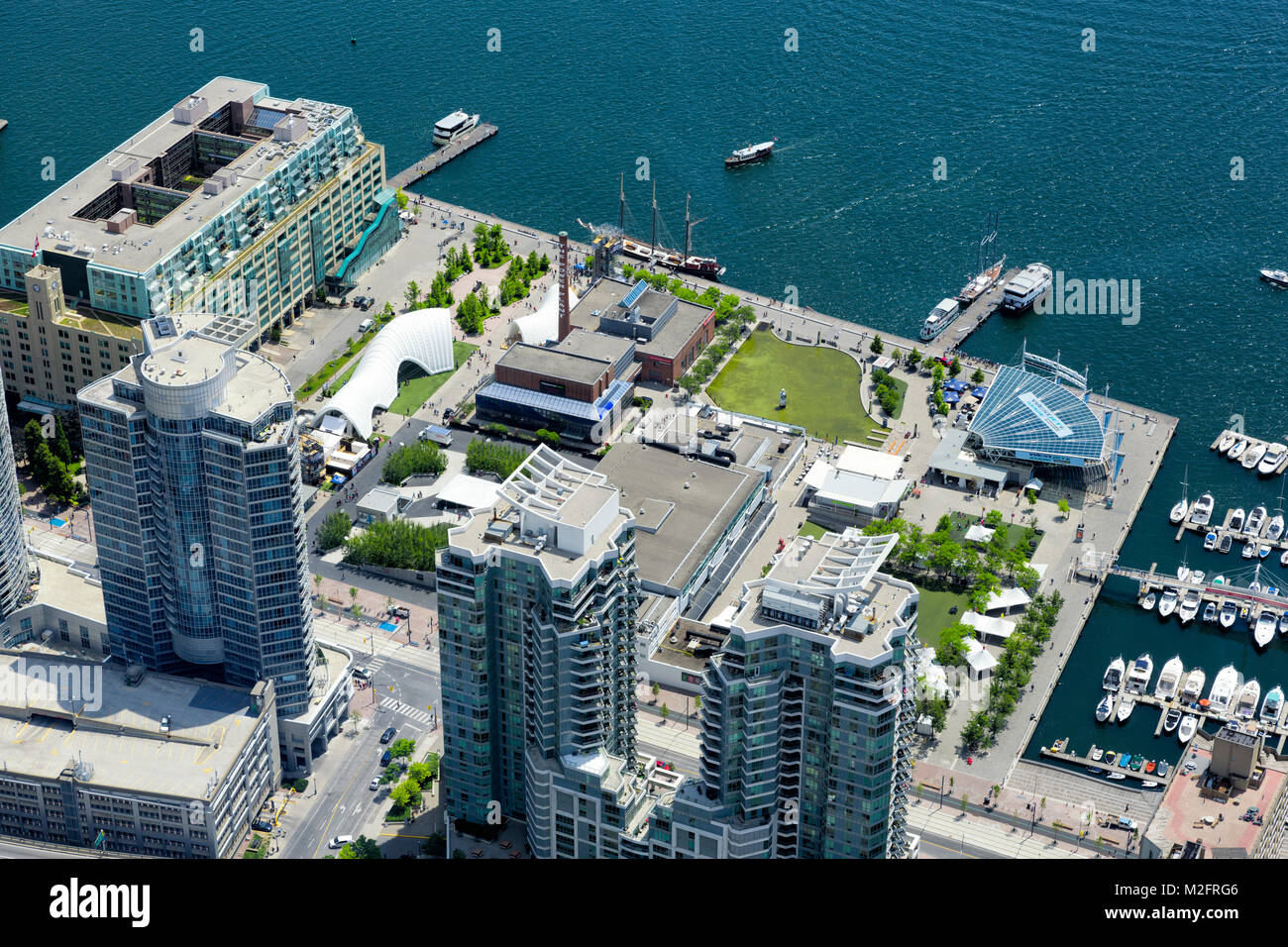 View from above busy Toronto Harbourfront, Canada Square, Ontario Square on event weekend, Westjet Stage, The Power - Stock Image