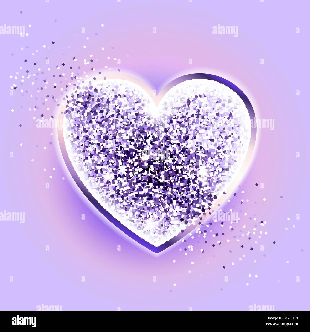 Valentines day design. Glitter ultraviolet heart - Stock Image