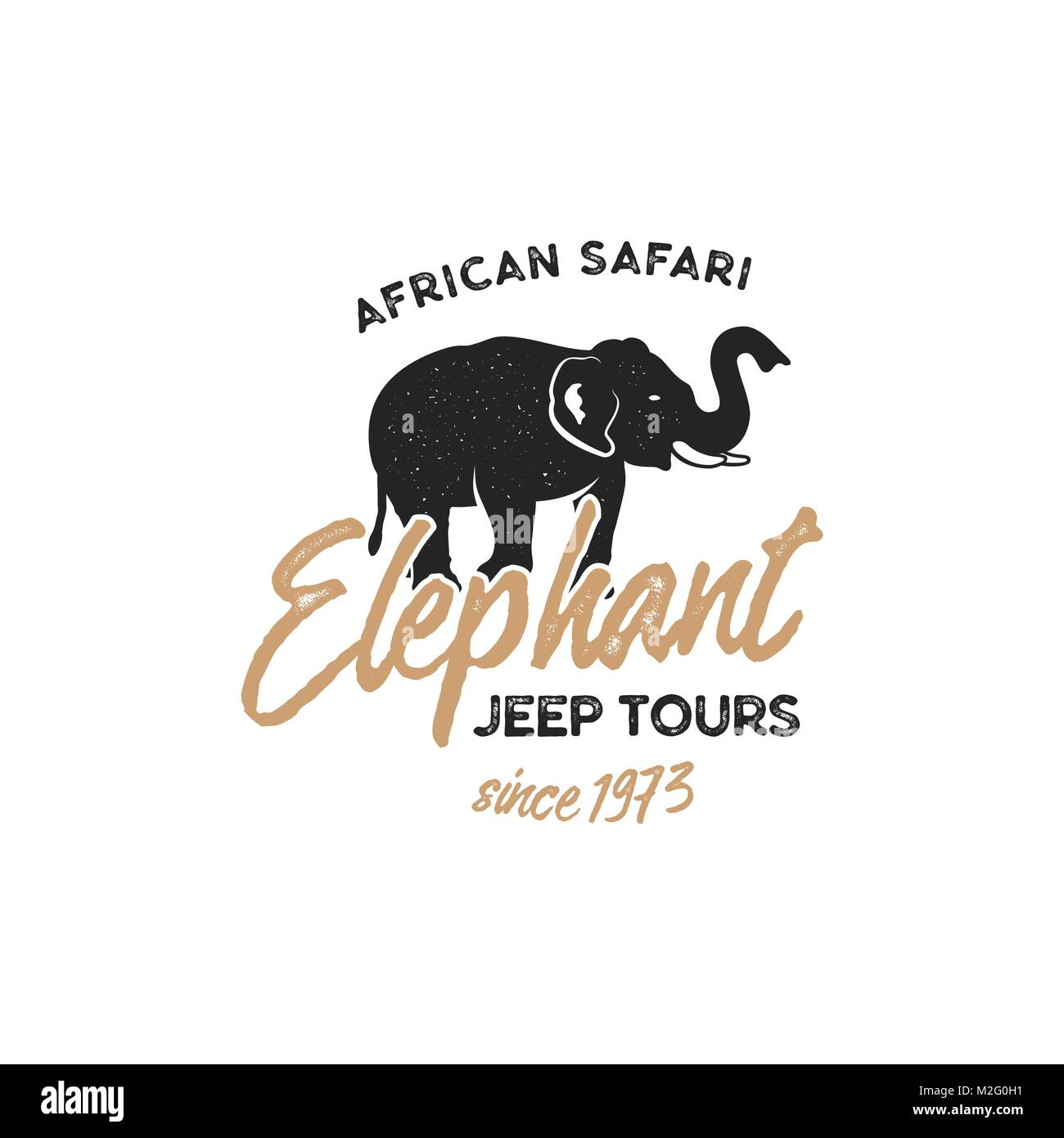 Adventure logo design. Jeep tours badge template. Elephant symbol included. Vintage hand drawn silhouette shape - Stock Vector