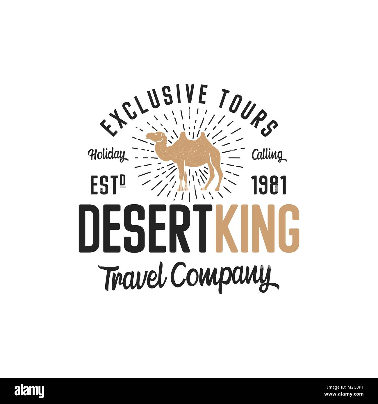 Camel logo template concept. Travel company logotype. Desert king text quote. Exclusive tours vacation business - Stock Vector