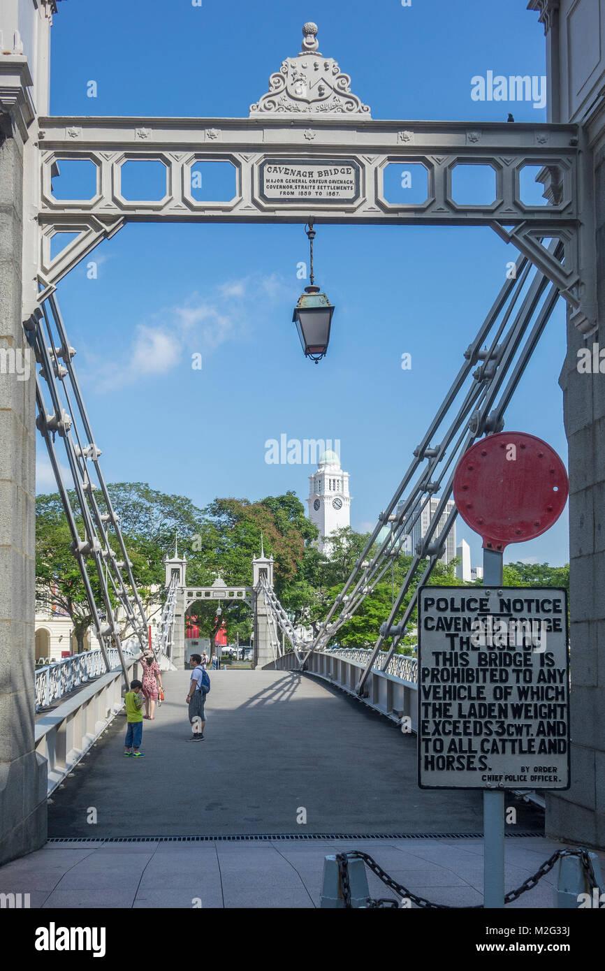 Singapore, Cavenagh bridge - Stock Image