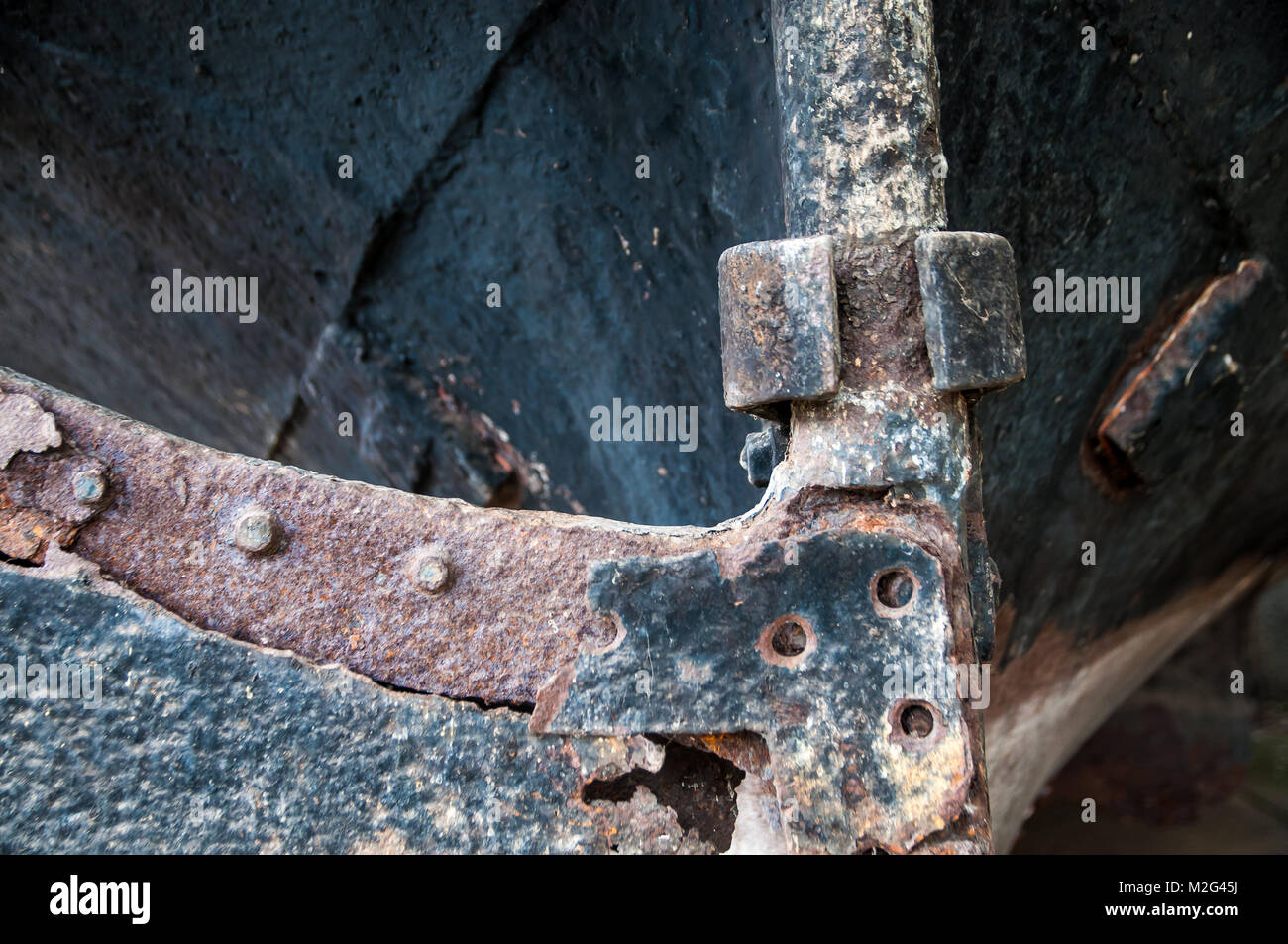 detailed view of an old rusted steering gear - Stock Image