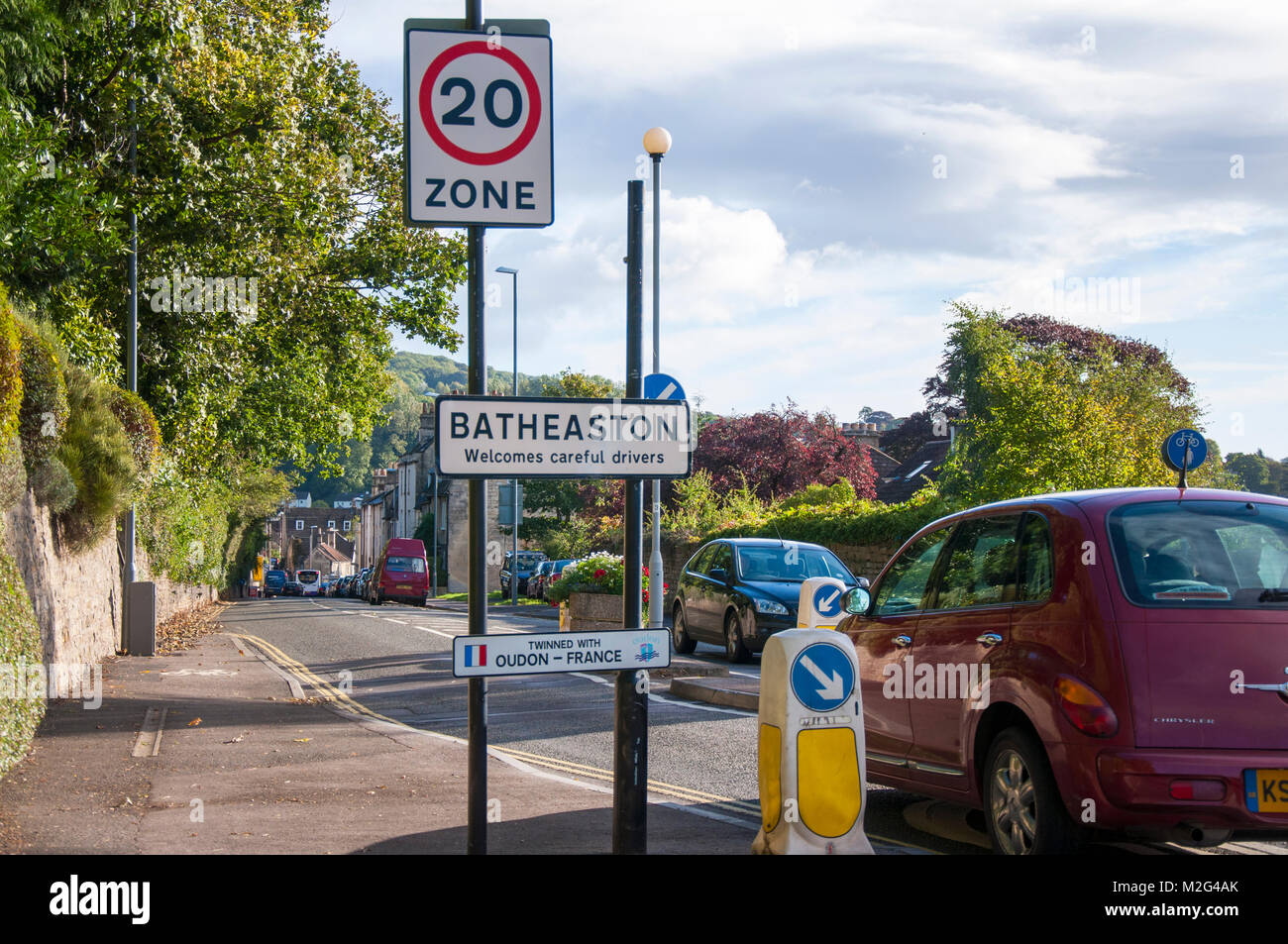 Road into Batheaston twenty mile per hour zone with traffic calming chicane, Somerset, England - Stock Image