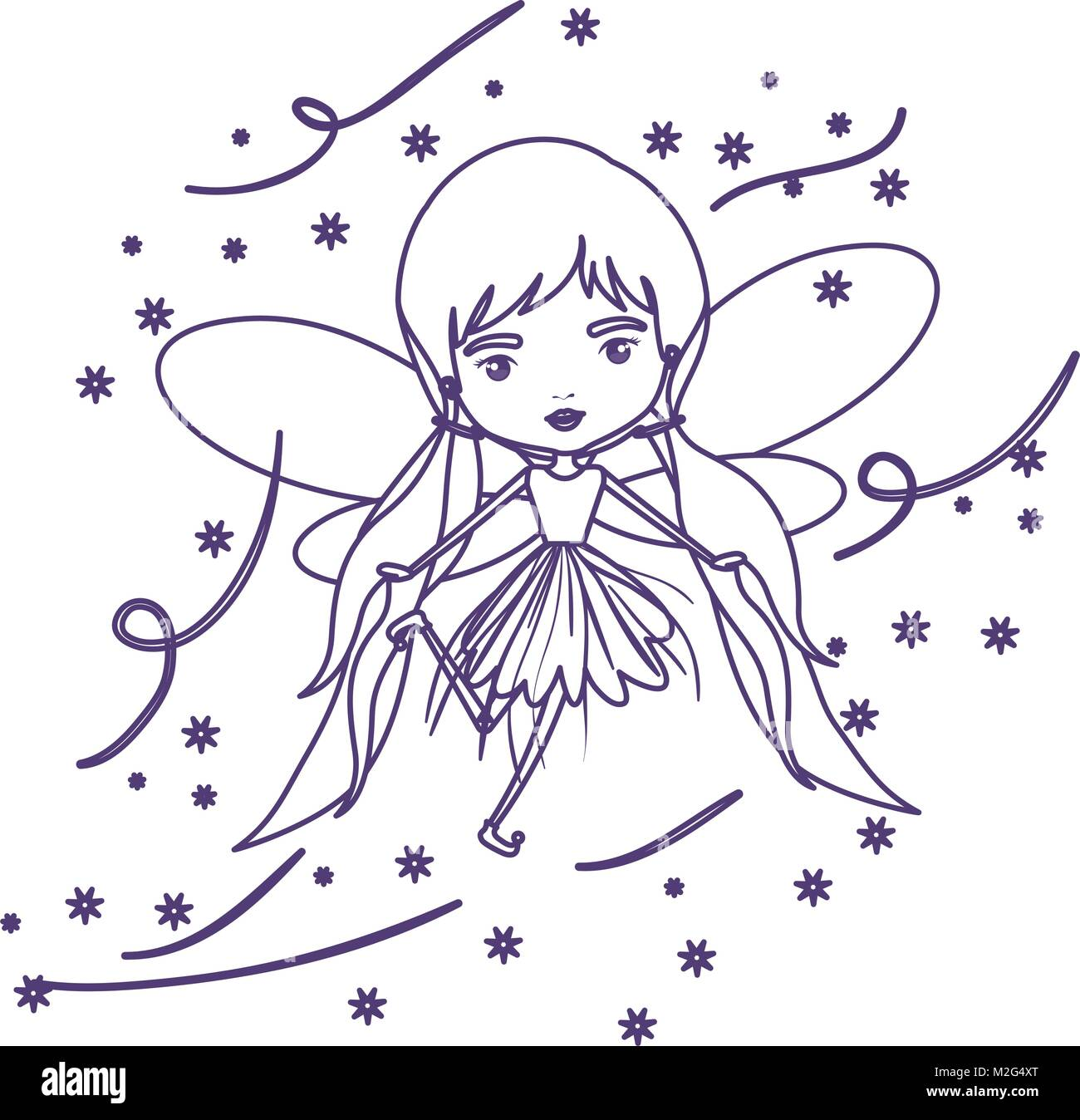 girly fairy flying with wings and pigtails hairstyle and stars in purple contour over white background - Stock Image