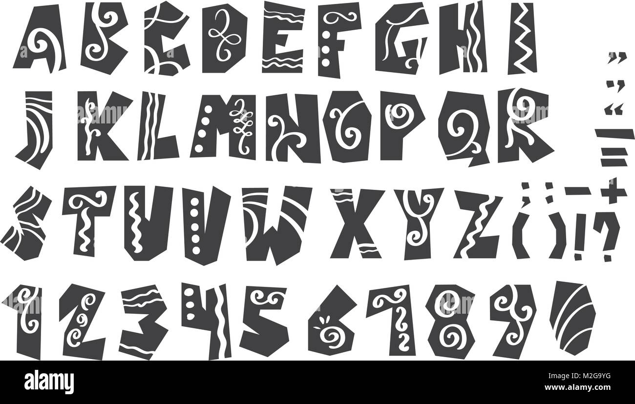 Grunge full alphabet and numerals vector illustration. Modern calligraphy. Isolated on white background - Stock Image