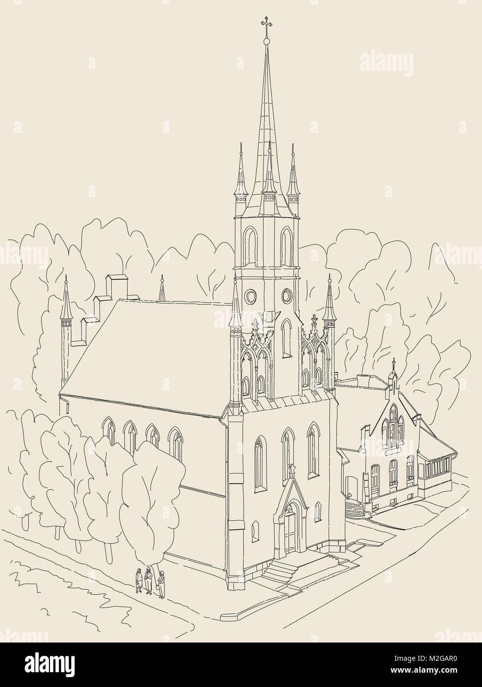Black And White Sketch Of The Cathedral In Gothic Style Small Cozy
